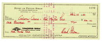 Hank Stram signed autographed check! Football Legend! Guaranteed Authentic!