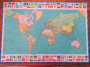 VINTAGE RAVENSBURGER PUZZLE  JIGSAW  WORLD MAP FLAGS 1500 PIECE 1971