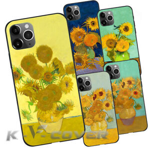 K-V Sunflowers Gogh Oil painting  For iPhone Samsung pro 13PM phone Case Cover