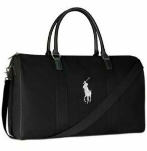 POLO Ralph Lauren Black Duffel Bag NEW Gym Carry-On Weekender Luggage Canvas