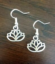 Lotus Flower Earrings Spiritual Boho Hippy Yoga Good Luck Silver925Hook