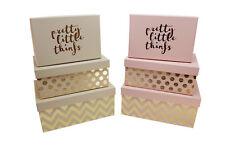 Kartonage rosa gold beige Punkte Schachteln Box Geschenk Aufbewahrung  3er Set