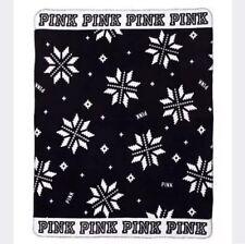 Victoria's Secret Fleece Black & White Cozy Throw Snow Flake 50 X 60 Blanket Nwt