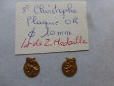 lot de 2 ancienne medaille Saint Christophe metal doré plaqué OR   France 1960
