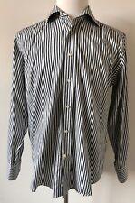 ETRO Dress Shirt 15.5 /  40 EU White Black Gray Striped ITALY
