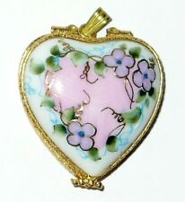 LIMOGES BOX ~ ROCHARD ~FLORAL HEART BOX~ LOCKET & CORD ~ NECKLACE ~ ANNIVERSARY