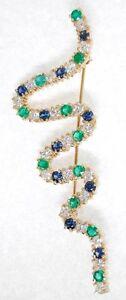 Ladies Diamond, Emerald & Sapphire Squiggle Brooch
