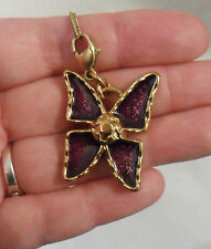 Vtg YSL Yves Saint Laurent NECKLACE, Choker, Butterfly Purple Enamel Gold Plated