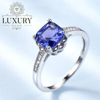 Tanzanite Gemstone Solid 925 Sterling Silver Solitaire Engagement Ring for Women
