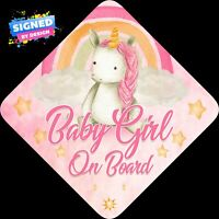 Non Personalised Baby Girl Unicorn Face Floral Child/Baby on Board Car Sign New