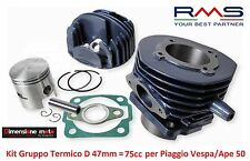 Gruppo Termico Cilindro + Pistone RMS D 47mm - 75cc per Piaggio Vespa PK 50 S