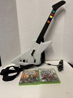 Guitar Hero XPLORER Guitar Xbox 360 Red Octane White Wired Model 95065 & 2 Games