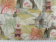 Drapery Upholstery Fabric Linen-Look Slub Asian Countryside Design Toile - Ivory