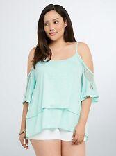 NWT Retro Boho Torrid Plus Size 5X Mint Green Lace Trim Cold Shoulder Top (QQQ5)