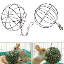 8cm Sphere Feed Dispenser Silver Hanging Ball Guinea Pig Hamster Rabbit Pet Toy