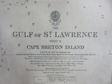 Old 1944 Nautical Chart Map Gulf of St.Lawrence Sheet X Cape Breton Island