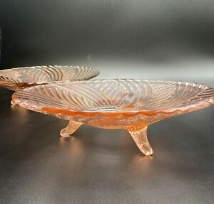 Vintage Pink Swirl Depression Glass 3-Footed Serving Tray Set of 2