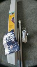 6ft Spinning Tangle Free Flagpole kit * USA Flag * Silver Ball * Aluminum Mount