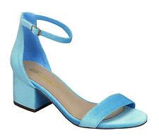 Blue Velvet Open Toe Ankle Strap Mini Chunky Med Low Block Heel Pump Sandal Shoe