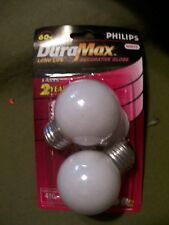 PHILIPS DURA MAX LONG LIFE DECORATIVE GLOBE 60W WHITE BC60G16.5/W/LL 120V 2 PACK