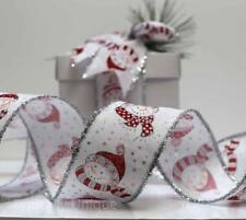 NEW 3 METRES SNOWMAN CHRISTMAS RIBBON WIRE EDGED WHITE RED GIFT WRAPPING 'SNOWY'
