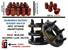 """5X100 TO 5X114.3 (5X4.5"""") 17MM HUBCENTRIC WHEEL SPACERS 4pc + 20pc Red Lug Nuts"""