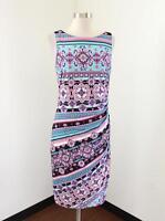Cache Womens Blue Pink Purple Medallion Print Striped Ruched Dress Size 8 Sheath