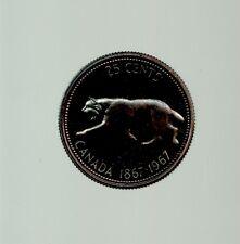 1967 Canada 25 Cents Silver Quarter  QEII Bobcat from specimen set Blue toned