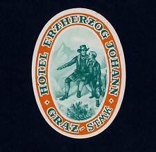 Hotel Erzherzog Johann GRAZ Austria * Old Luggage Label Kofferaufkleber