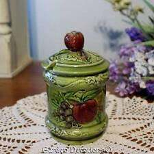 Vintage GREEN APPLE Geo Z Lefton CREAMER BOWL Apple Pear Grape #3745