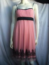 Sally USA Pink & Black Prom Party Dress Net Beaded Skirt Made in USA
