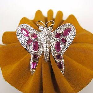 .30 cttw DIAMONDS 14k White Gold 3.08 cttw RUBIES BUTTERFLY Brooch