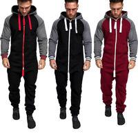 Mens Pure Color Splicing Autumn Winter Casual Hoodie Zipper Print Jumpsuit AU