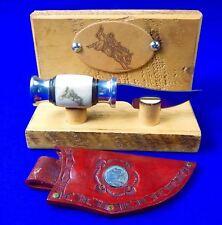 US Custom Made Handmade Small Cowboy Hunting Scrimshaw Knife & Sheath Display