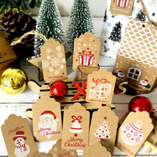 100PCS Christmas Gift Tags Kraft Paper Price Wedding Favor Scallop Label + Rope