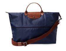 NWT Longchamp Le Pliage Expandable Travel Weekender Crossbody Bag NAVY $255 AUTH