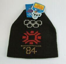 Vintage 1984 Sarajevo Olympics Winter Ski Cap Beanie Snow Hat Brown (Q-1)