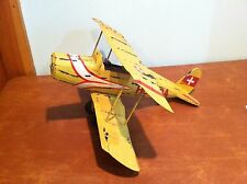 Antique Vintage Wooden Toy Biplane Propeller Plane with Metal Wings