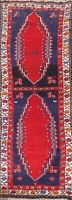 Antique Geometric Tribal Abadeh Hand-knotted Runner Rug Wool Oriental 3x9 Carpet