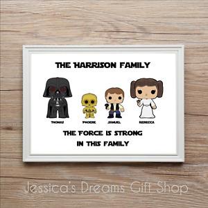 Personalised Star Wars Family Tree Print Gift Birthday Christmas Anniversary