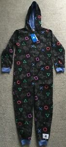 BNWT Official PlayStation Boys Childs Black Blue Hooded Onesie All In One PJs