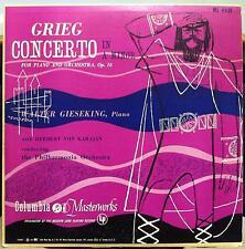 Walter Gieseking - Grieg Concerto For Piano LP VG+ ML 4431 Mono CBS Record 1A/1B
