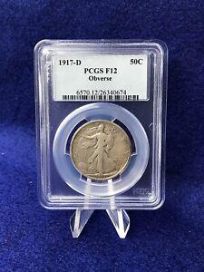 1917-D OBVERSE MINT MARK WALKING LIBERTY HALF DOLLAR 50c *PCGS F12 FINE*