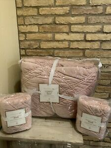 Pottery Barn Teen Chamois Lattice Full Queen Quilt Dusty Rose Pink Soft Bedding