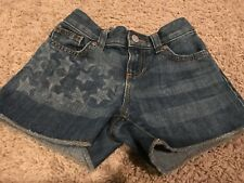 euc OLD NAVY Fourth July 4th PATRIOTIC Americana Denim Cutoff JEAN SHORTS Girl 7