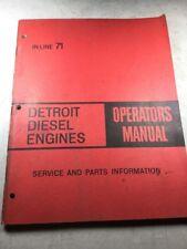 Detroit In-Line 71 Diesel Engine Operators Manual