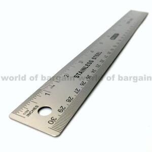 Métrique En Acier Inoxydable Measuring Ruler outil 2pcs environ 30.48 cm Straight Ruler 300 mm 12 in