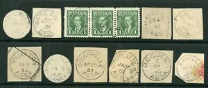 Weeda Canada ASSA - SK - AB CDS and split ring cancels, most 1893-1908 on piece