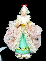 """RP R. PECH GERMANY DRESDEN PINK LACE DRESS VICTORIAN LADY 3 5/8"""" FIGURINE 1884"""