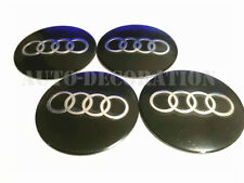4x Audi Black Wheels Centre Hub Caps Badge 3M Direct Stick On 56mm Aluminium